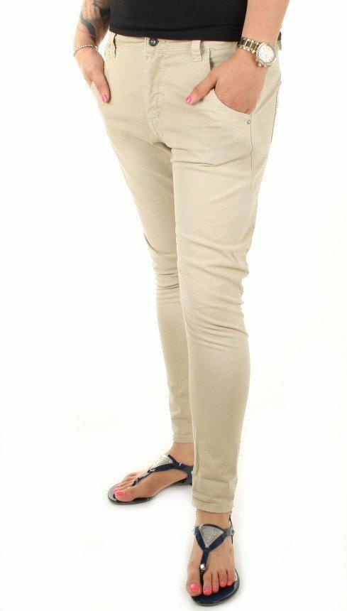 Pepe Jeans dámské béžové kalhoty s nízkým sedem Topsy