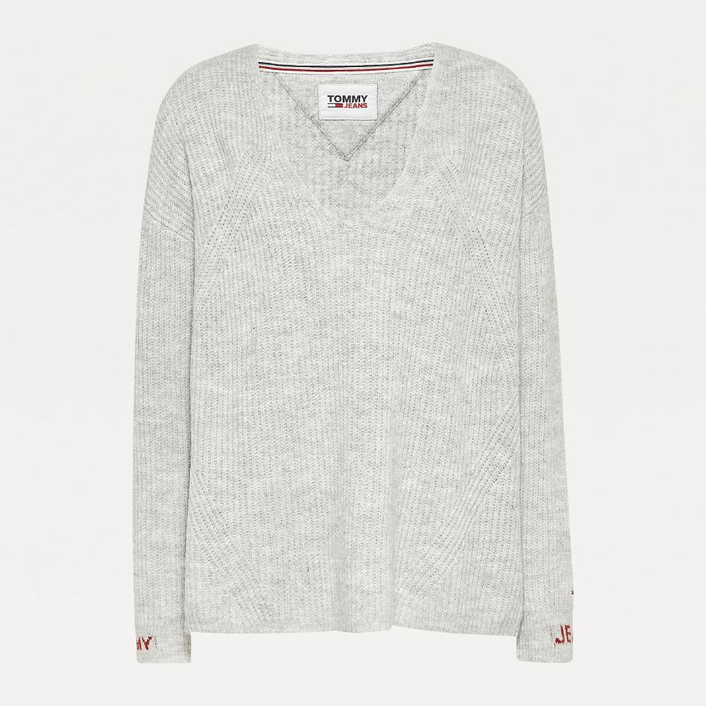 Tommy Jeans dámský šedý svetr Cuff Branding - M (PJ4)