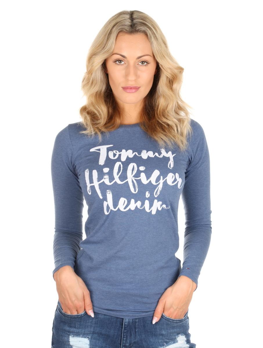 Tommy Hilfiger dámské modré tričko Basic s dlouhým rukávem
