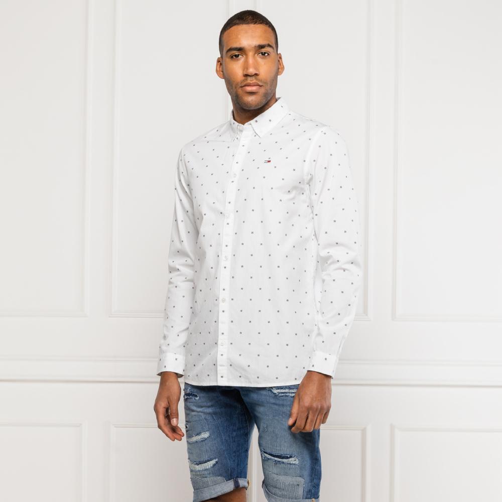 Levně Tommy Hilfiger pánská bílá košile se vzorem - S (0FO)