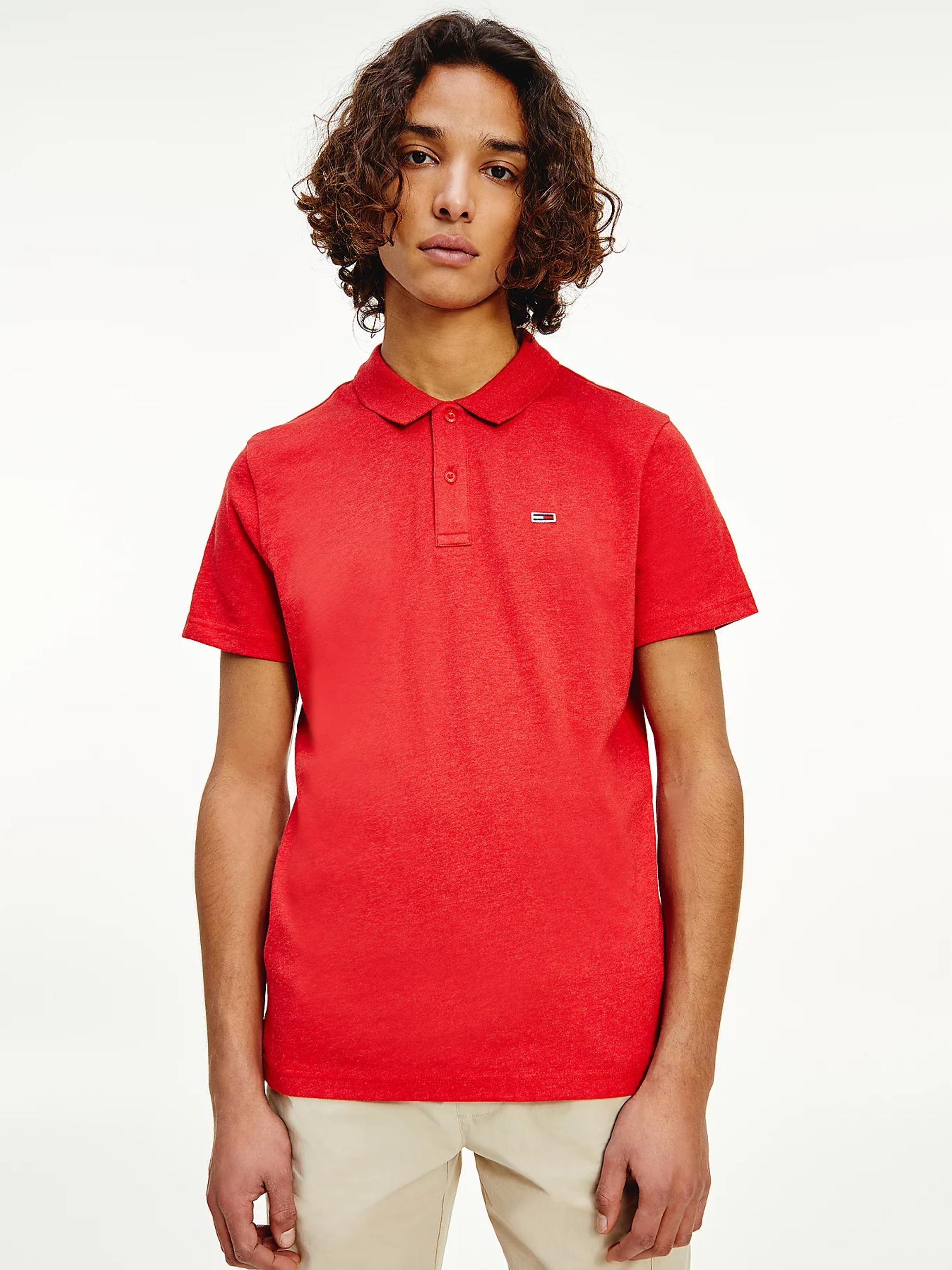 Tommy Jeans pánské červené polo triko