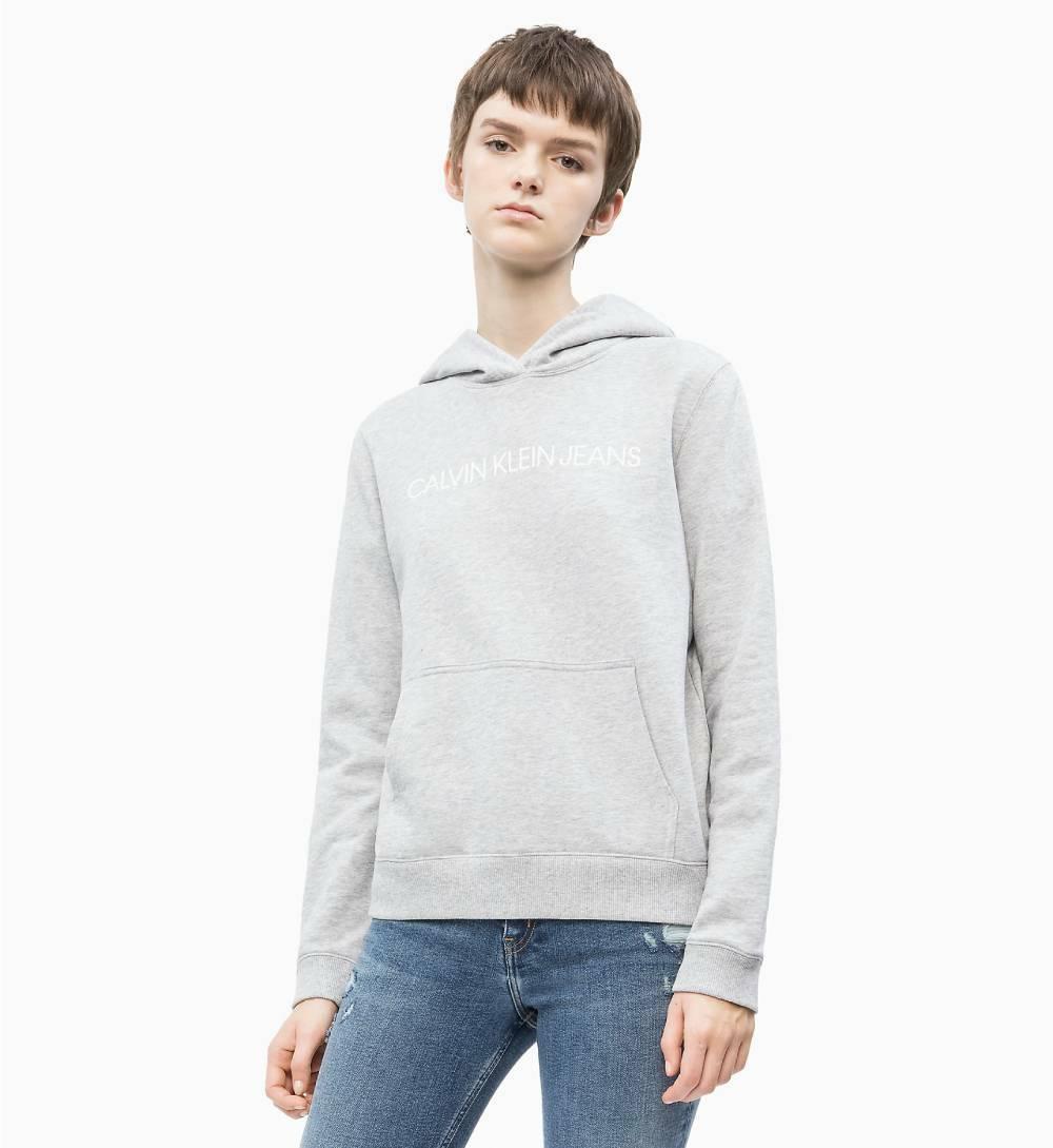 9d529e4adb Calvin Klein dámská šedá mikina s kapucí Hoodie - Mode.cz