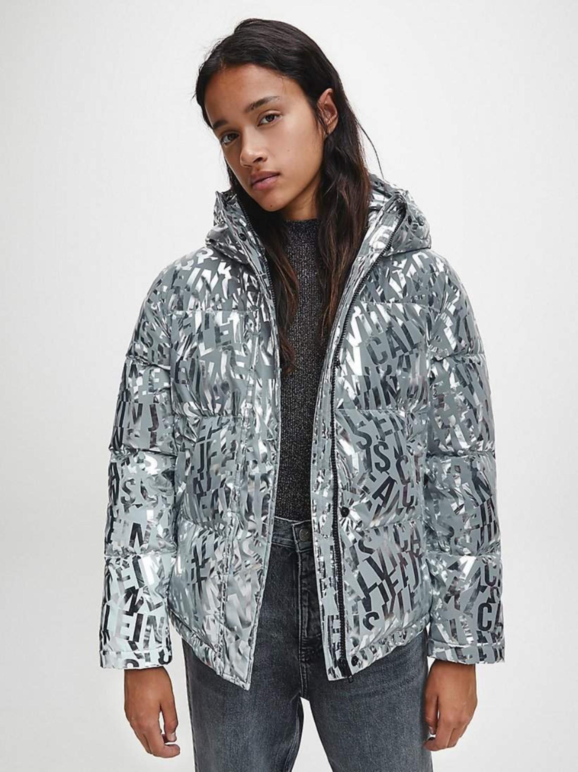 Calvin Klein dámská stříbrná zimní bunda
