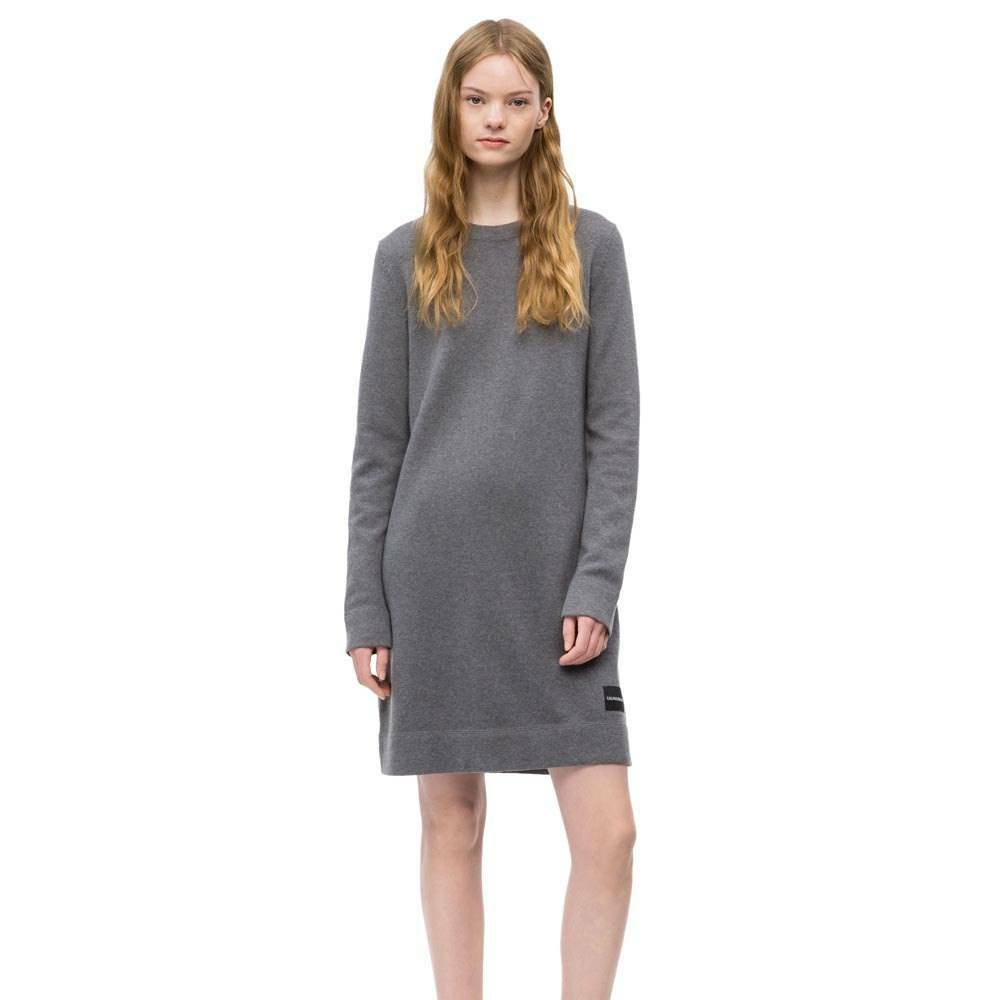 f8163b842aea Calvin Klein dámské šedé svetrové šaty