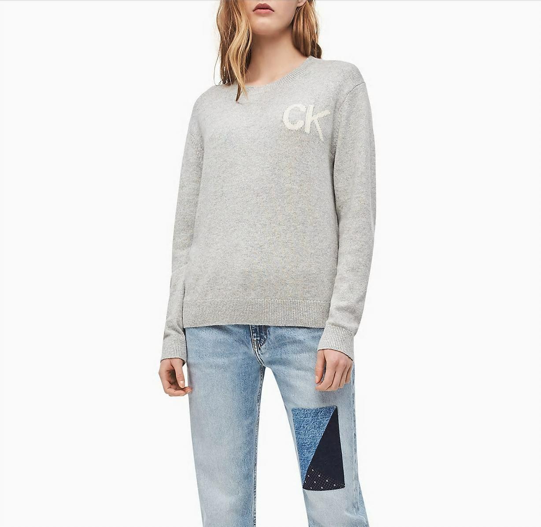 Calvin Klein dámský šedý svetr Intarsia - S (38)