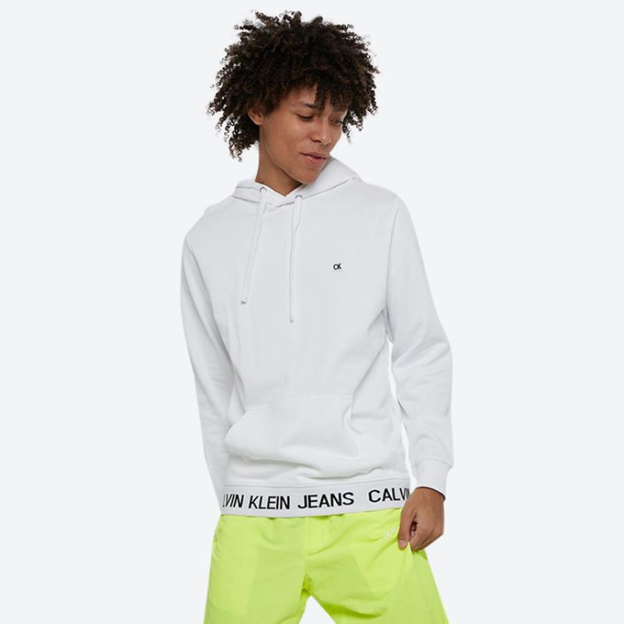 Levně Calvin Klein pánská bílá mikina Logo Waistband