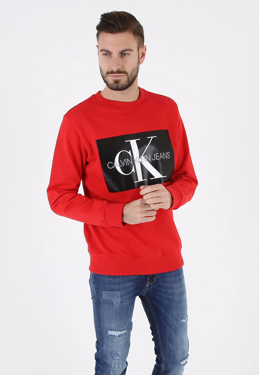 Calvin Klein pánská červená mikina Crew