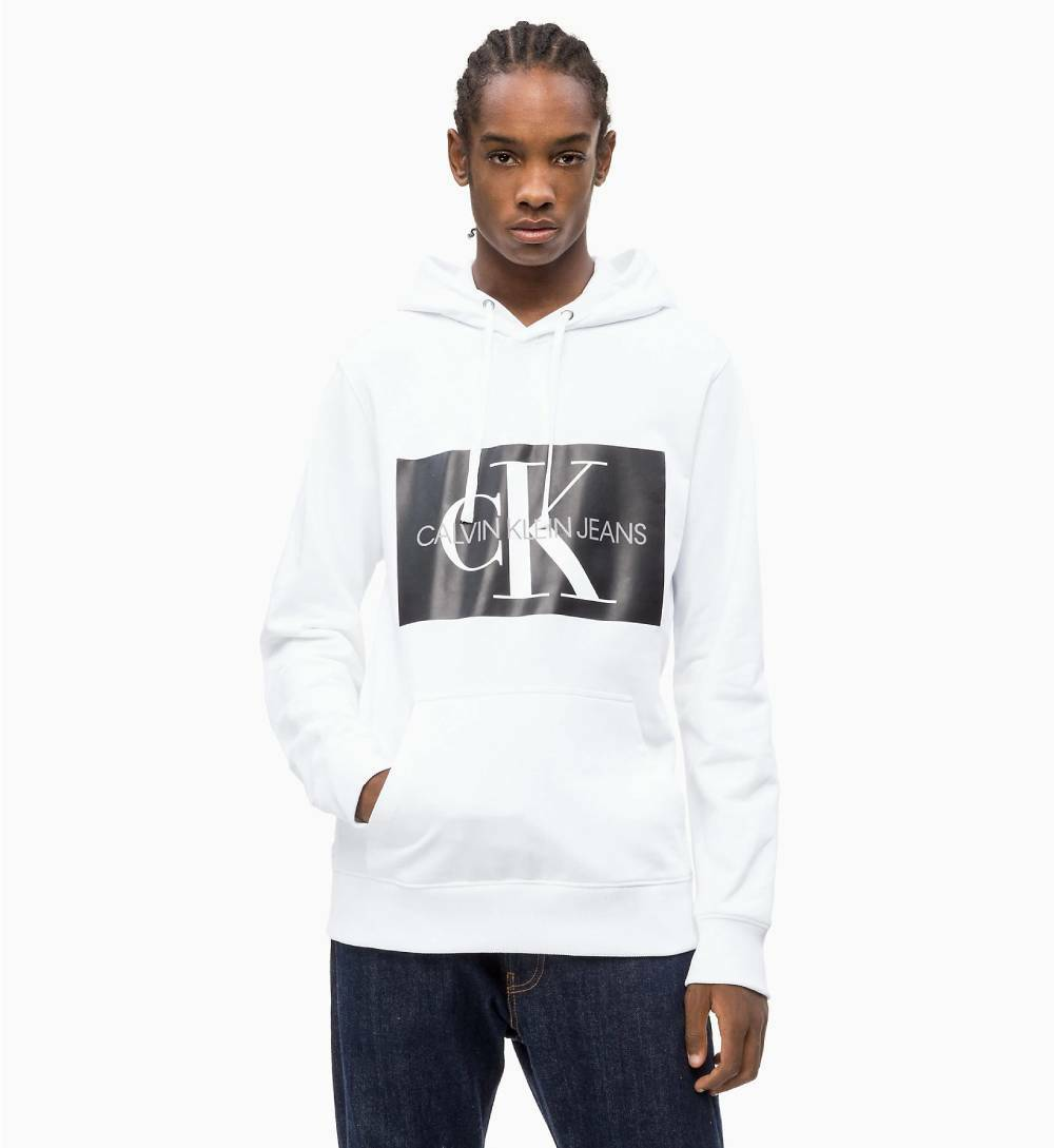 d12d07f358 Calvin Klein pánská bílá mikina s kapucí Hoodie - Mode.cz