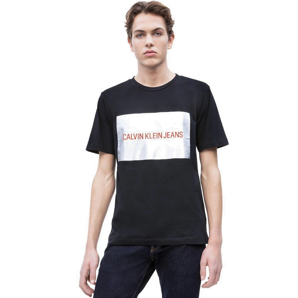 Calvin Klein pánské černé tričko Silver - XXL (99)
