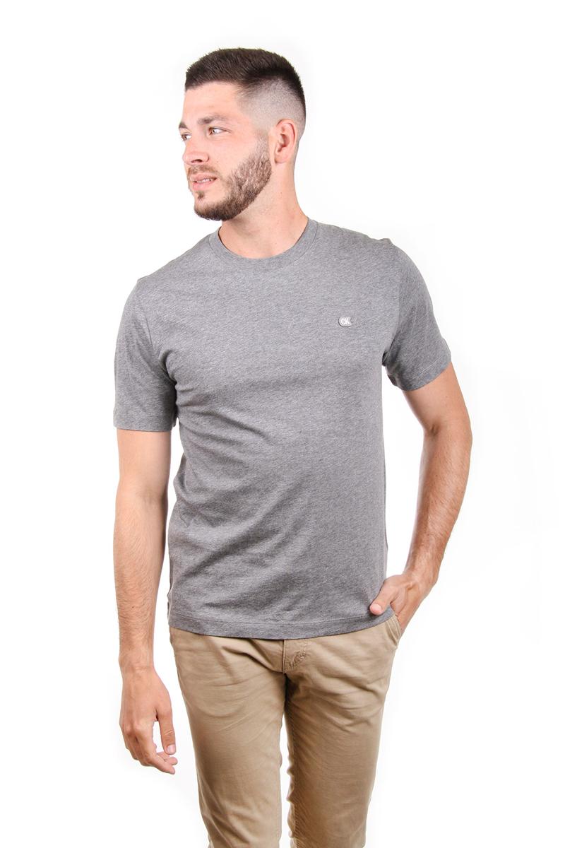 Levně Calvin Klein pánské šedé tričko Badge - XXL (039)