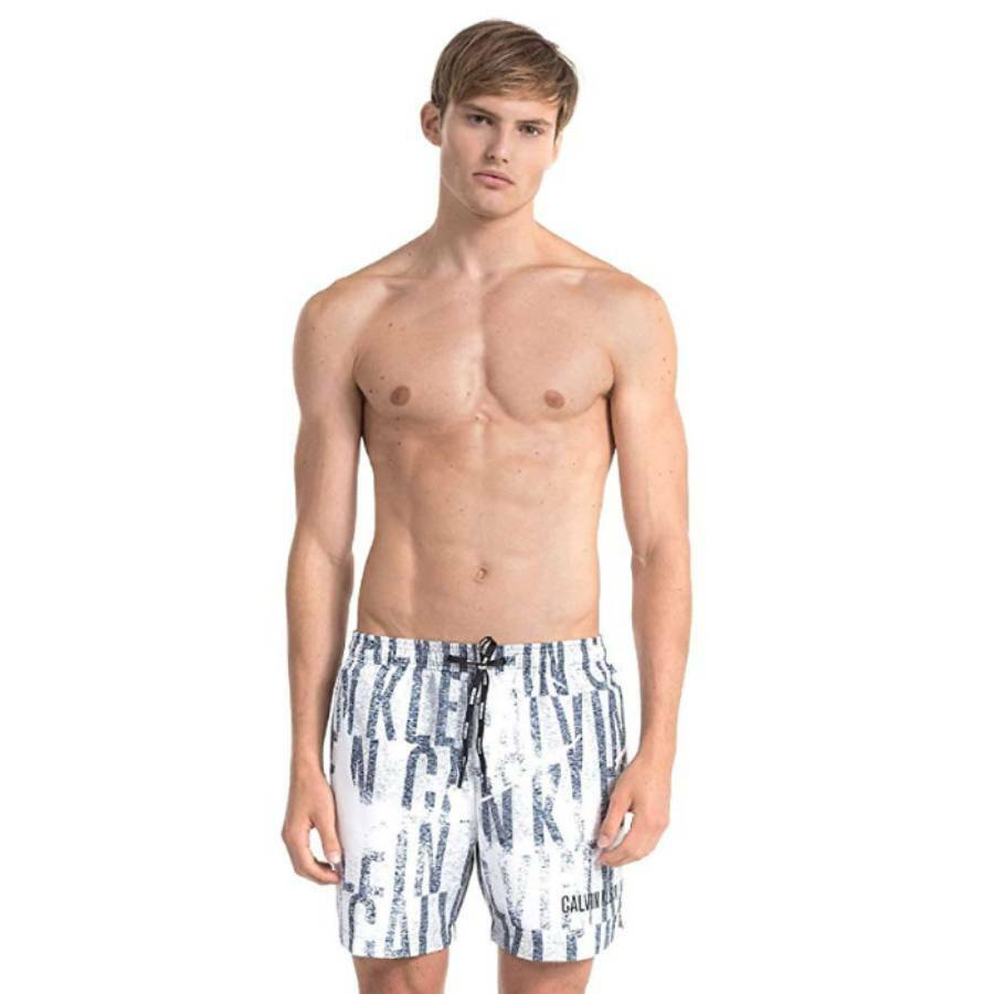 94d3967c3 Calvin Klein pánské bílé plavky s potiskem - Mode.cz