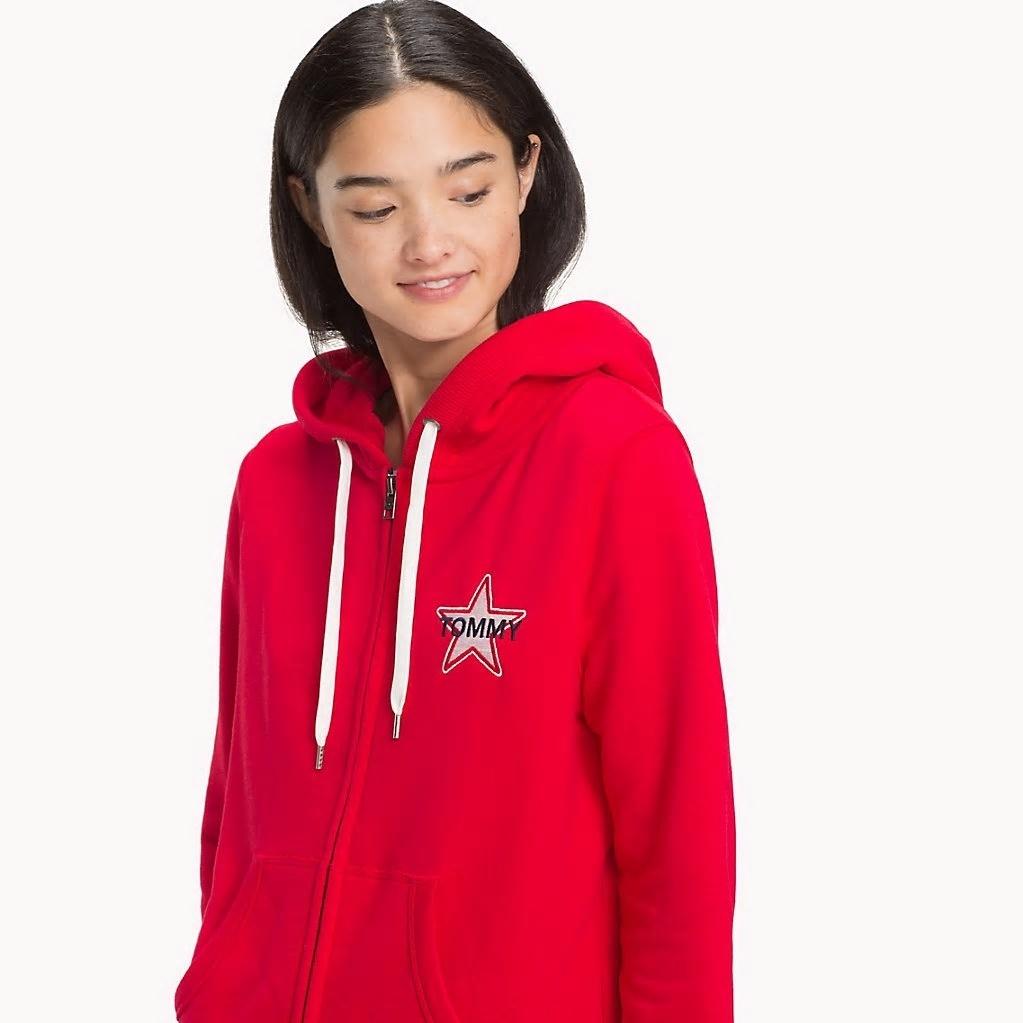 Tommy Hilfiger dámská červená mikina Logo zip - Mode.cz 4d3160d9226