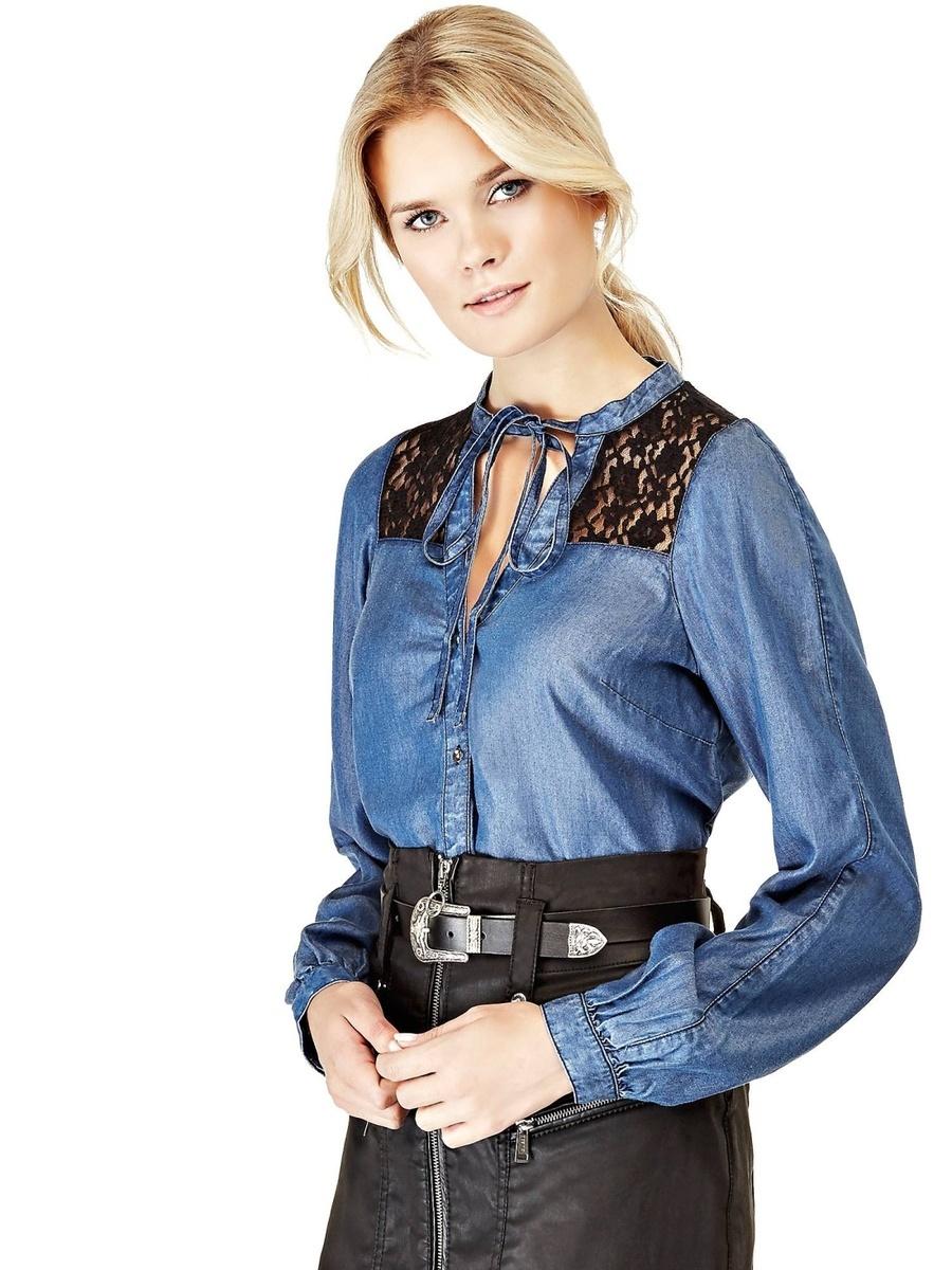 Guess dámská džínová košile s krajkou