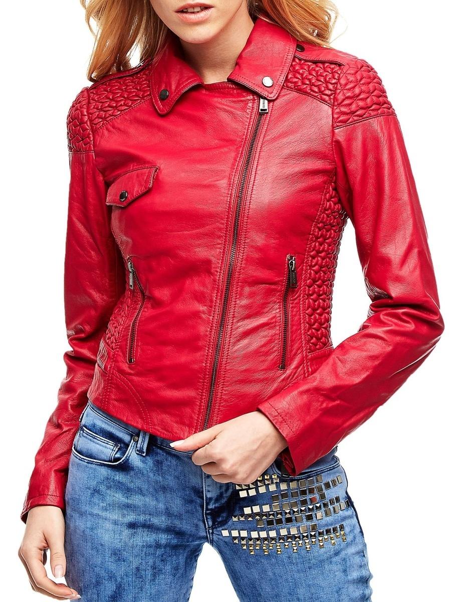 Guess dámská růžová kožená bunda