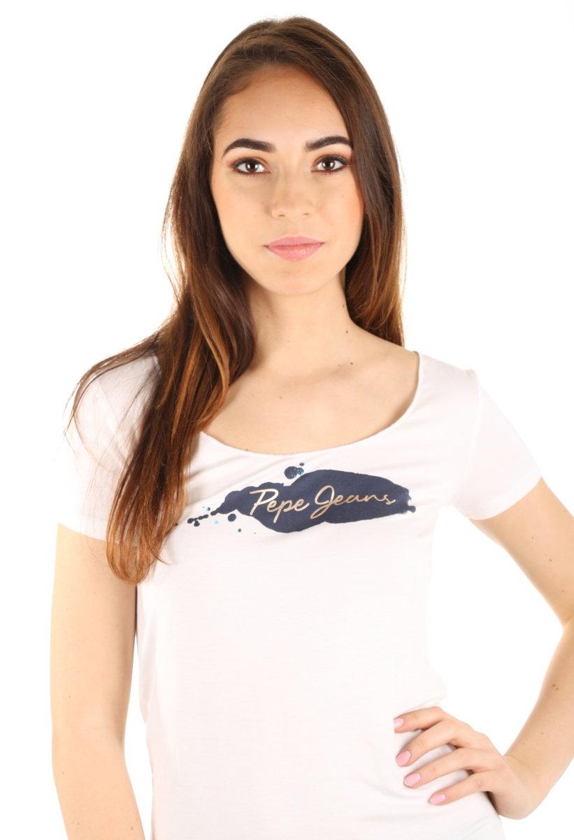 20bf2e7b35c Pepe Jeans dámské bílé tričko Violeta - Mode.cz