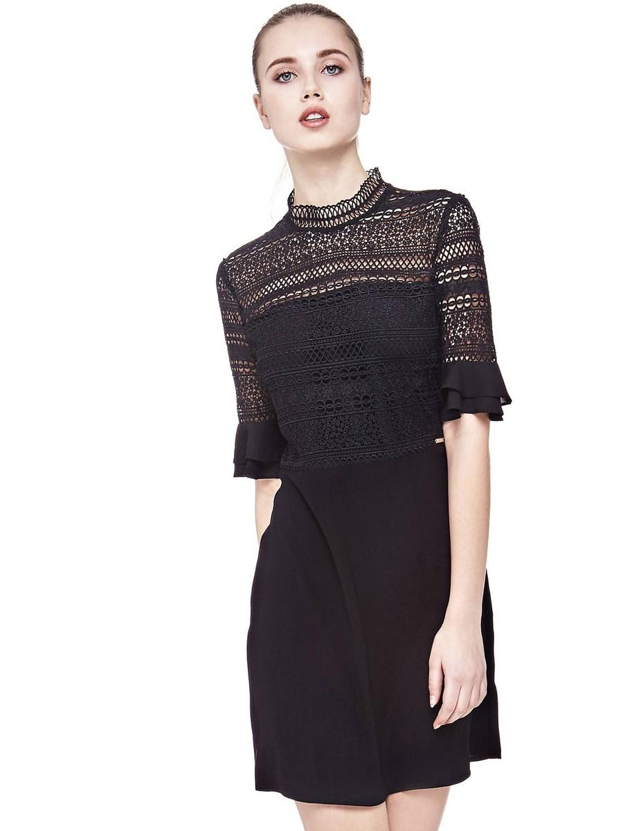 Guess dámské černé šaty s krajkou - Mode.cz d559d19d7a0
