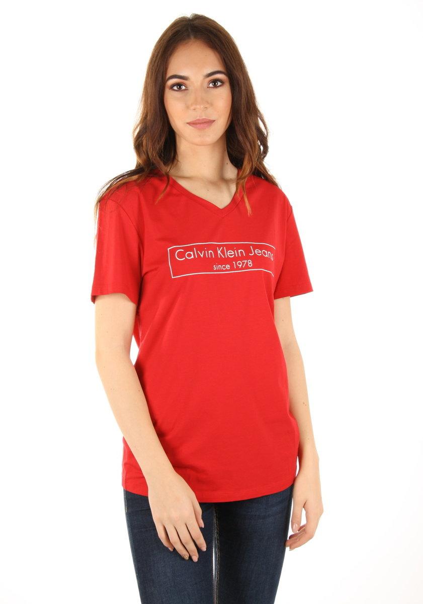 557322c3f8fe Calvin Klein dámské červené tričko Tilly - Mode.cz