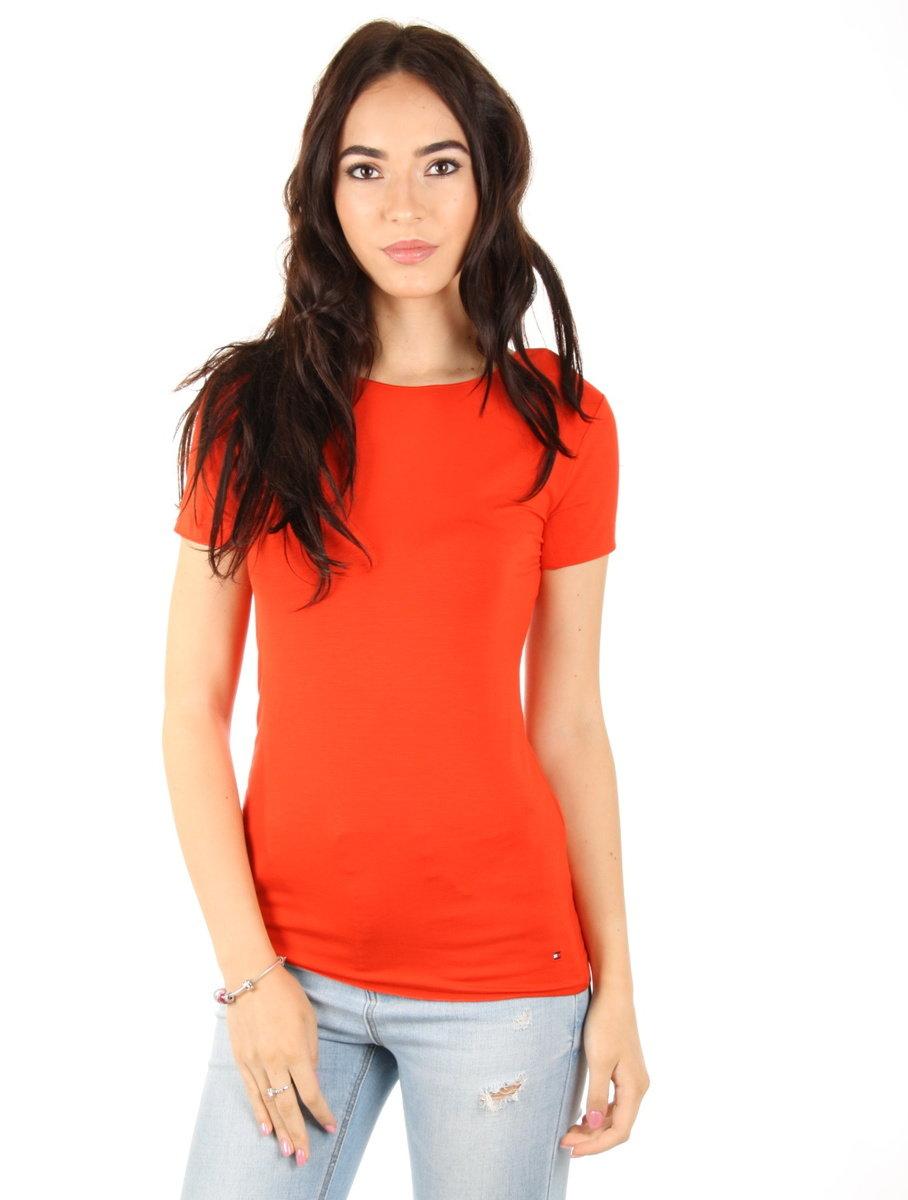 Tommy Hilfiger dámské červené tričko Jada - Mode.cz d12dc4ded8