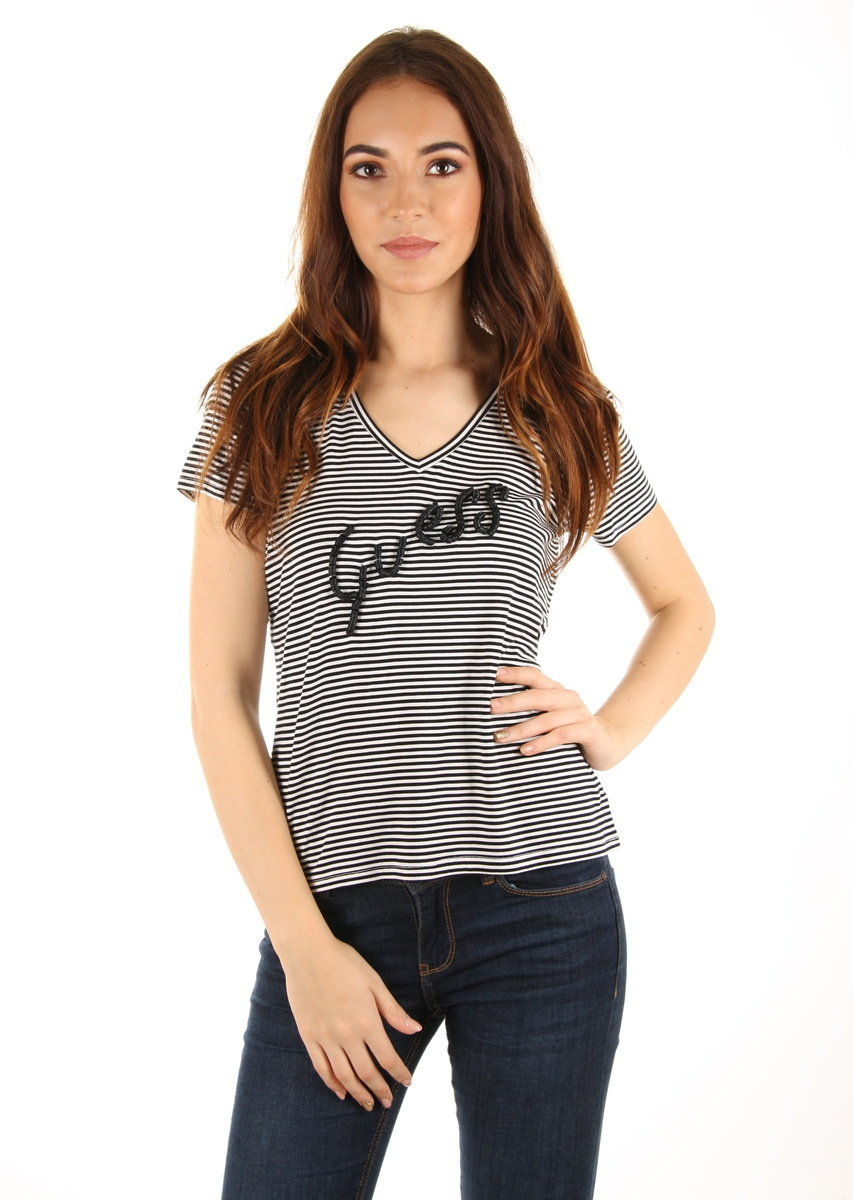 Levně Guess dámské pruhované tričko - M (ST04)