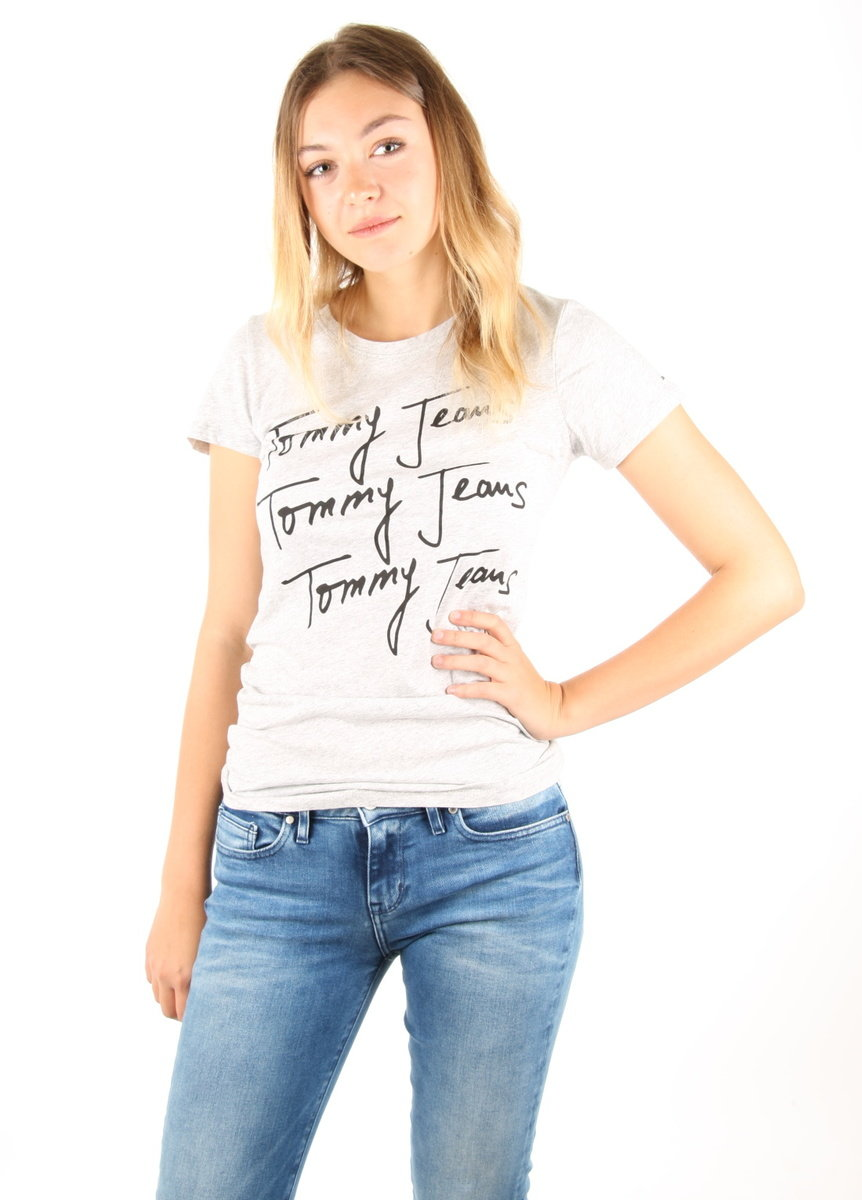 7f697d1f0307 Tommy Hilfiger dámské šedé tričko Logo