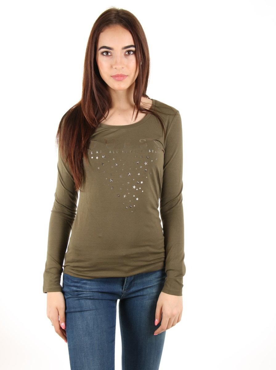 b417e2797 Guess dámské zelené tričko Stars - Mode.cz