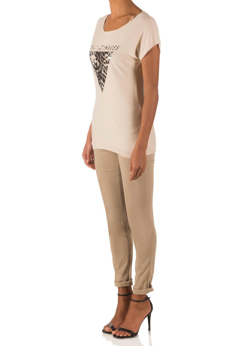9b623930802 Guess dámský béžový svetr s krátkým rukávem - Mode.cz
