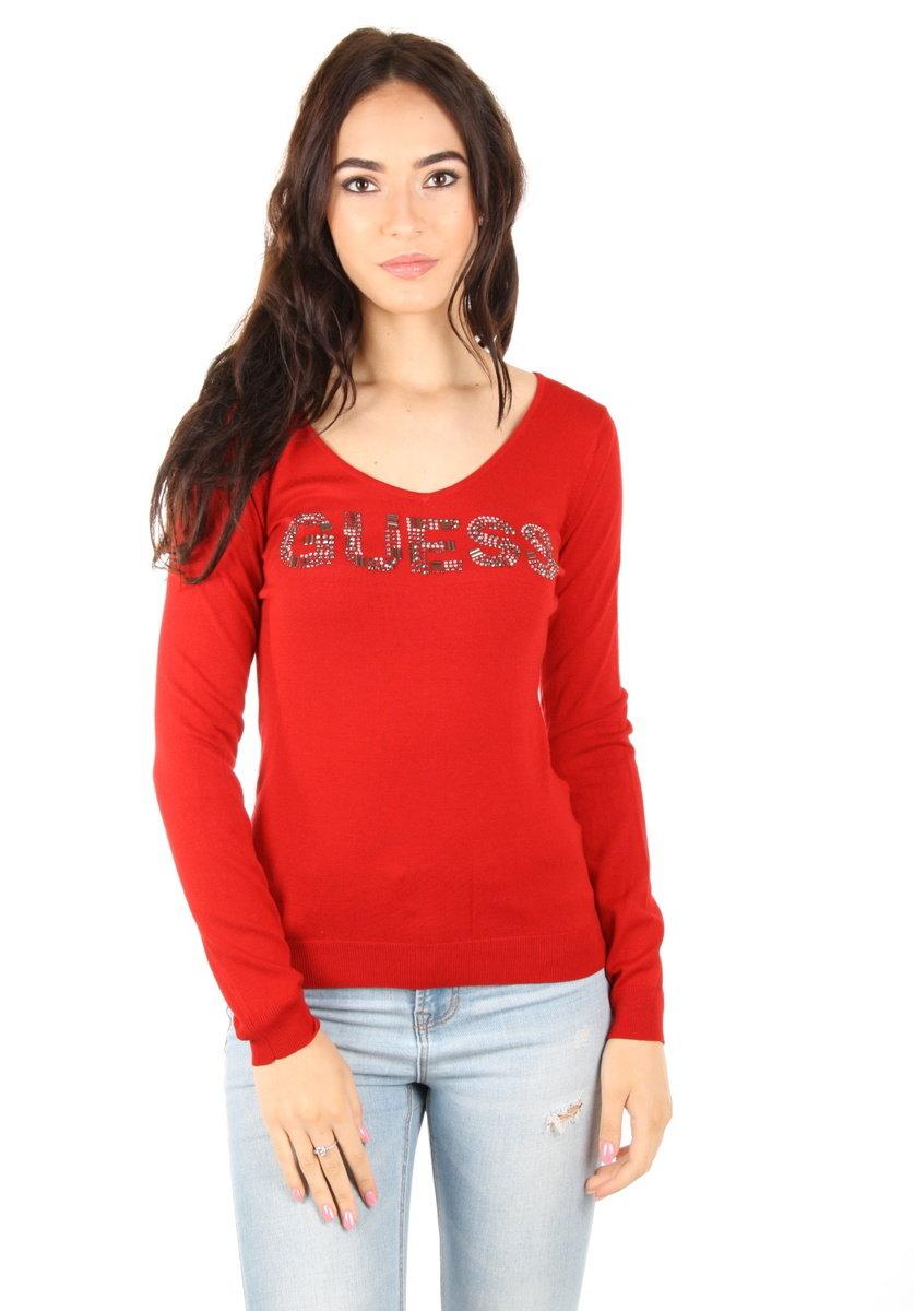 dbef0de12ff Guess dámský červený svetr - Mode.cz