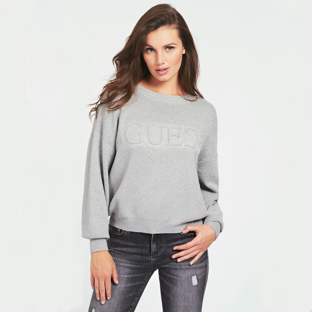 Guess damský šedý svetr - M (F18H)