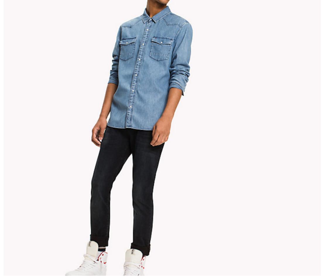 Tommy Hilfiger pánská džínová košile Basic - L (412)