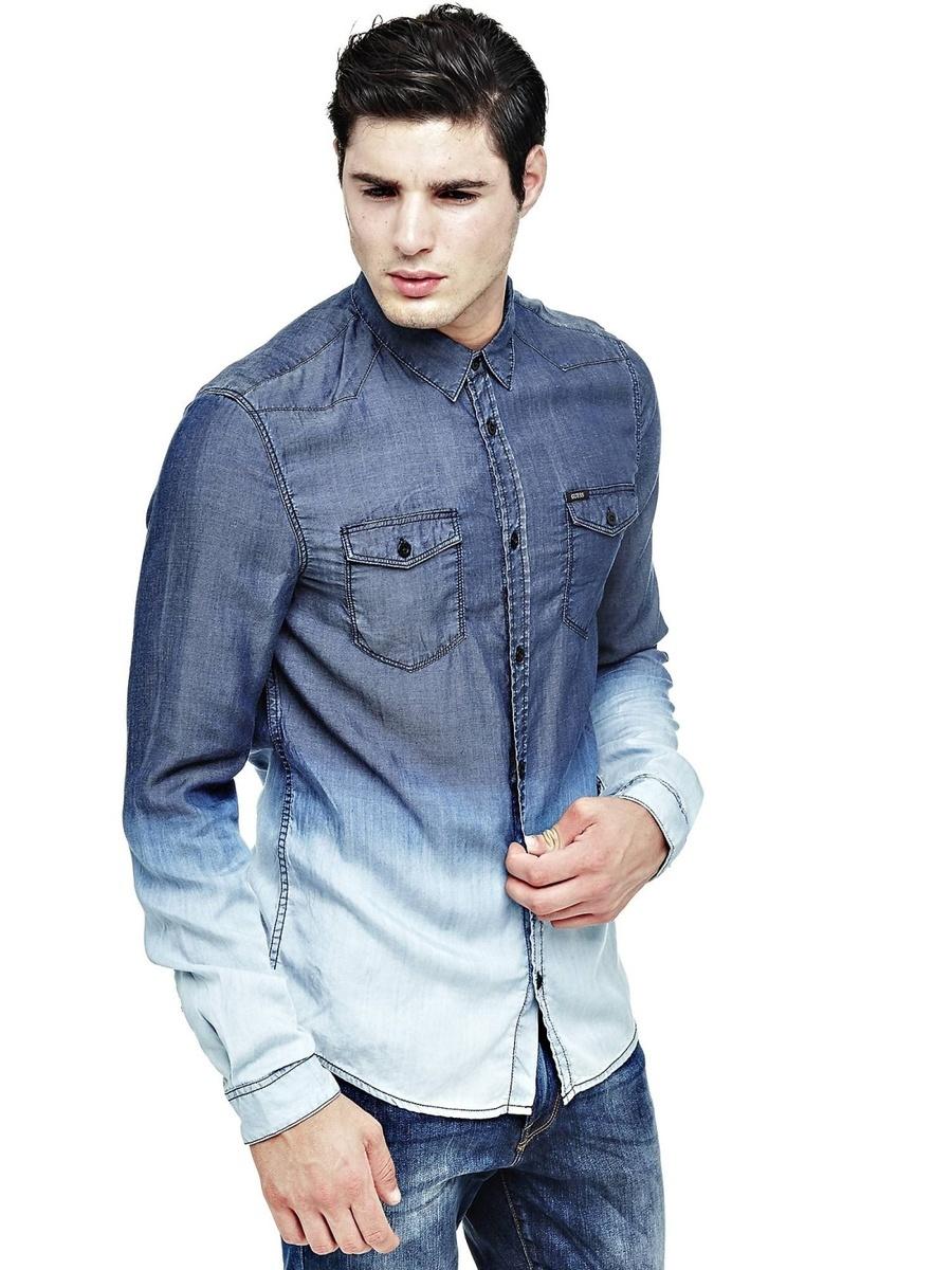 Guess pánská modrá košile Ombre - Mode.cz 1862dd3034
