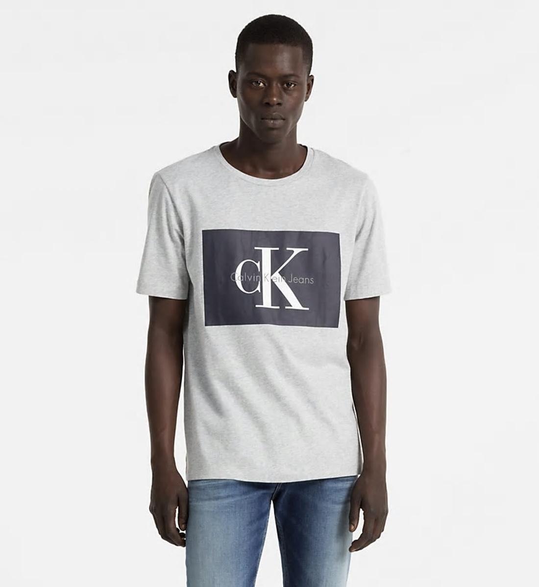 1fad61bc35 Calvin Klein pánské šedé tričko s potiskem - Mode.cz