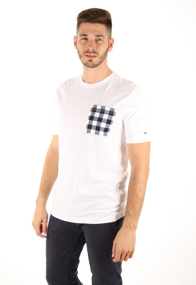Tommy Hilfiger pánské bílé tričko Gingham - XXL (100)