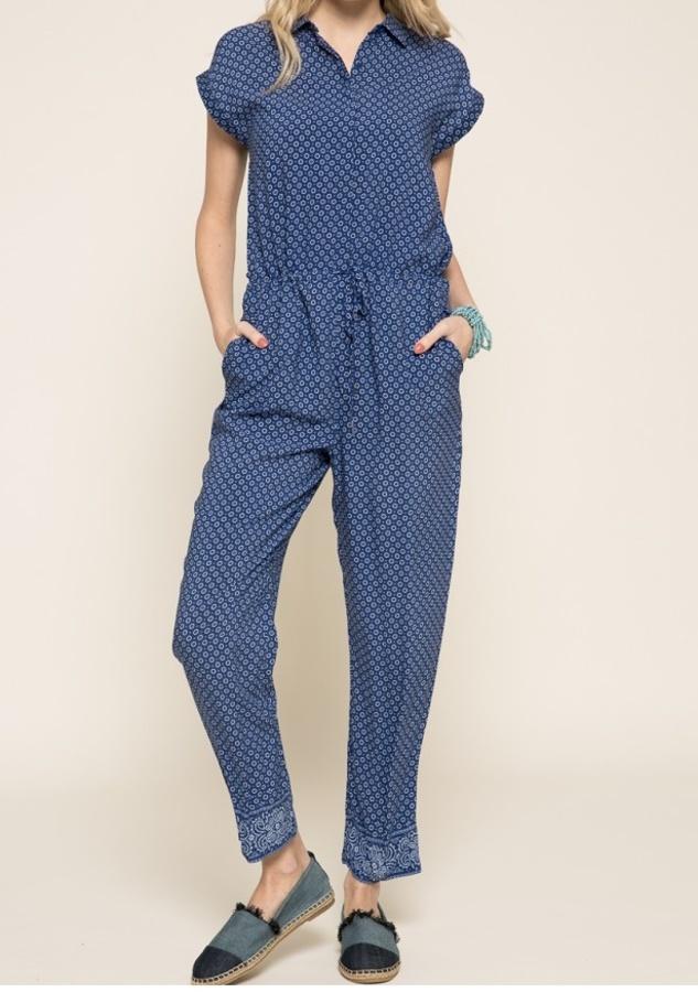 eb1fc4800265 Pepe Jeans dámský tmavě modrý overal Hazel s drobným vzorem - Mode.cz
