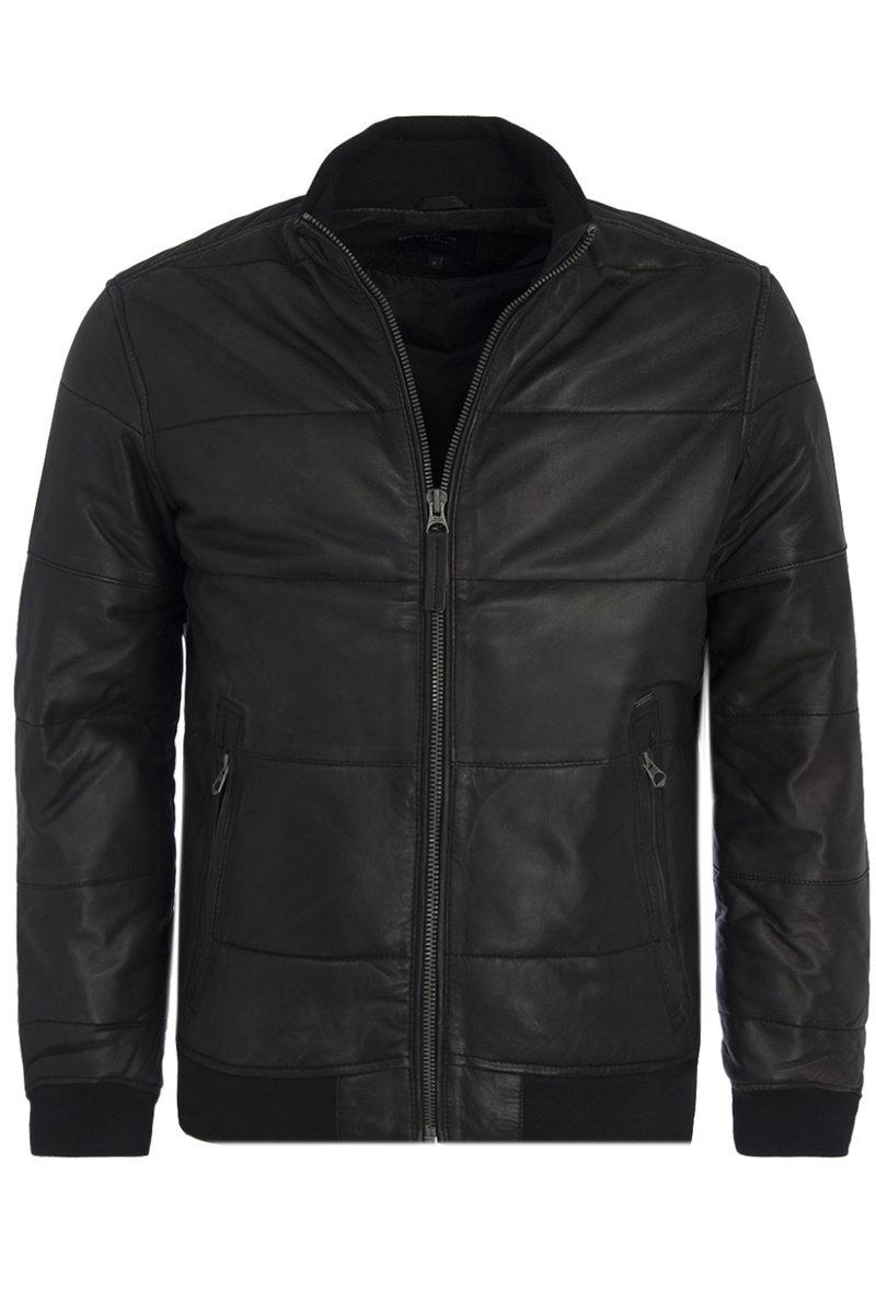 Pepe Jeans pánská černá kožená bunda Malta