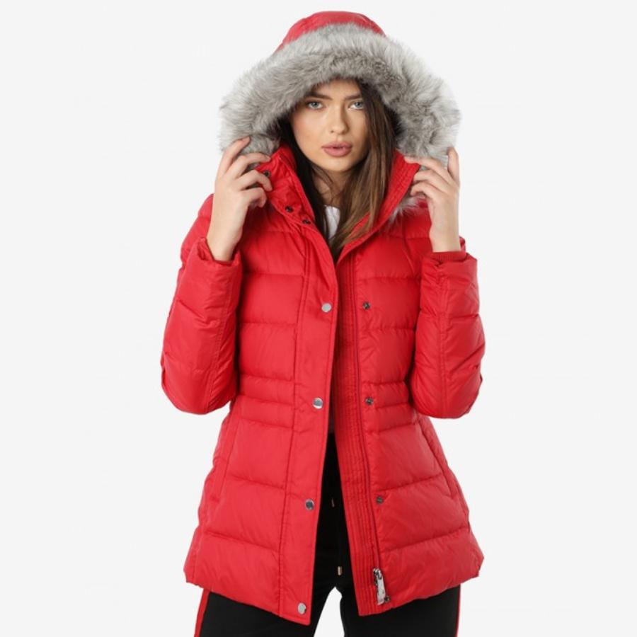 Tomma Hilfiger dámská červená zimní bunda Tyra - L (XBE) Tommy Hilfiger