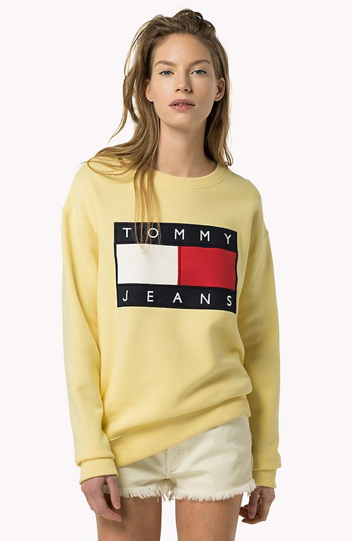 Tommy Hilfiger dámská žlutá mikina TOMMY JEANS