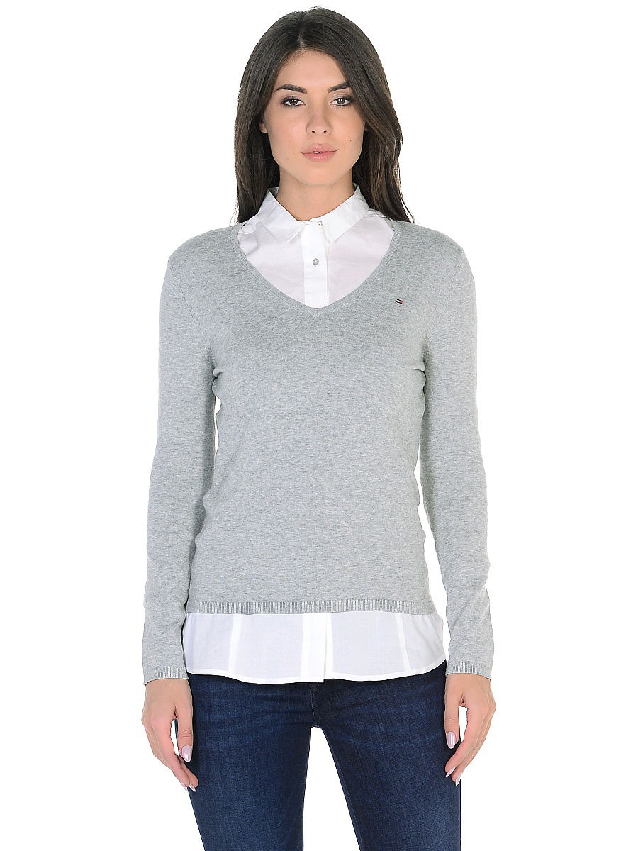 Tommy Hilfiger dámský šedý svetr - XL (039)