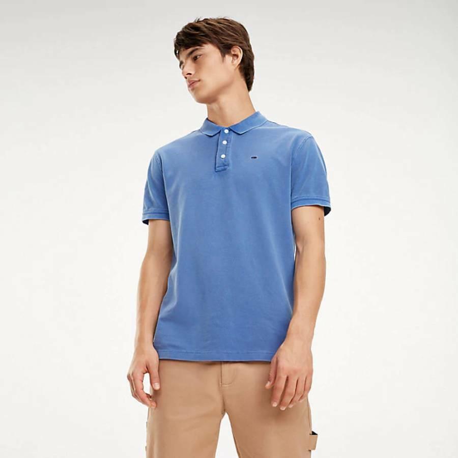 d1f651c2d6 Tommy Hilfiger pánské modré polo tričko Garment - Mode.cz