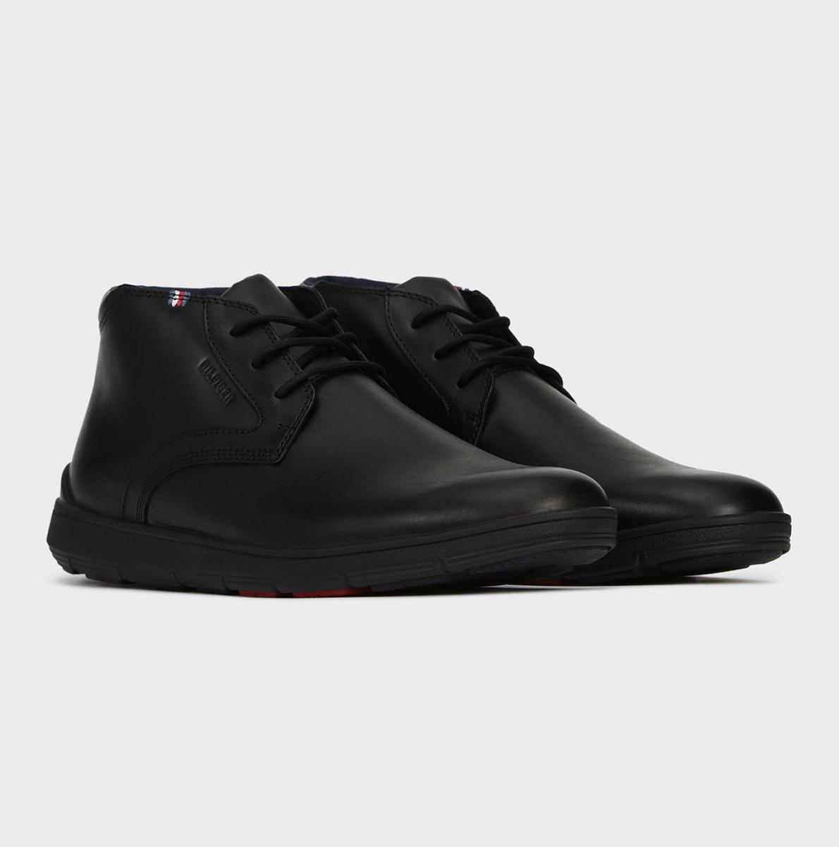 Tommy Hilfiger pánská černá kožená kotníková obuv