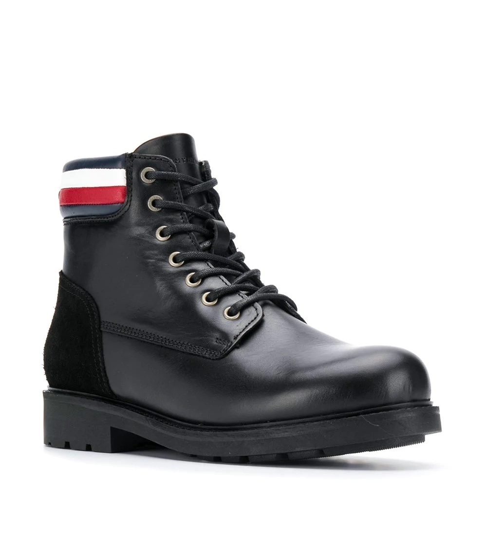 Tommy Hilfiger pánská černá kožená kotníková obuv Active
