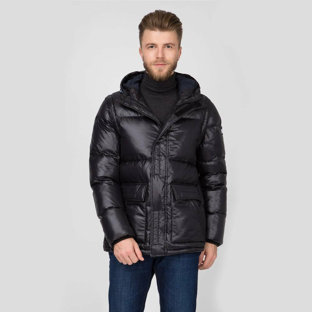 Tommy Hilfiger pánská černá lesklá bunda