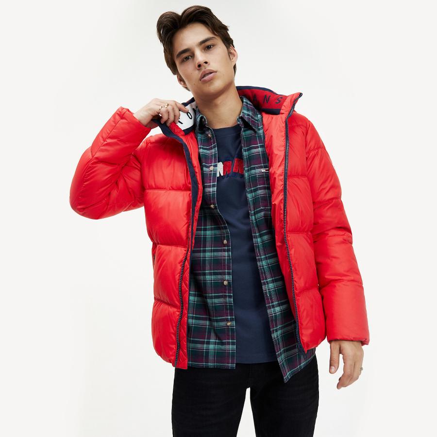 Tommy Jeans pánská červená zimní bunda Essential - L (XA9)