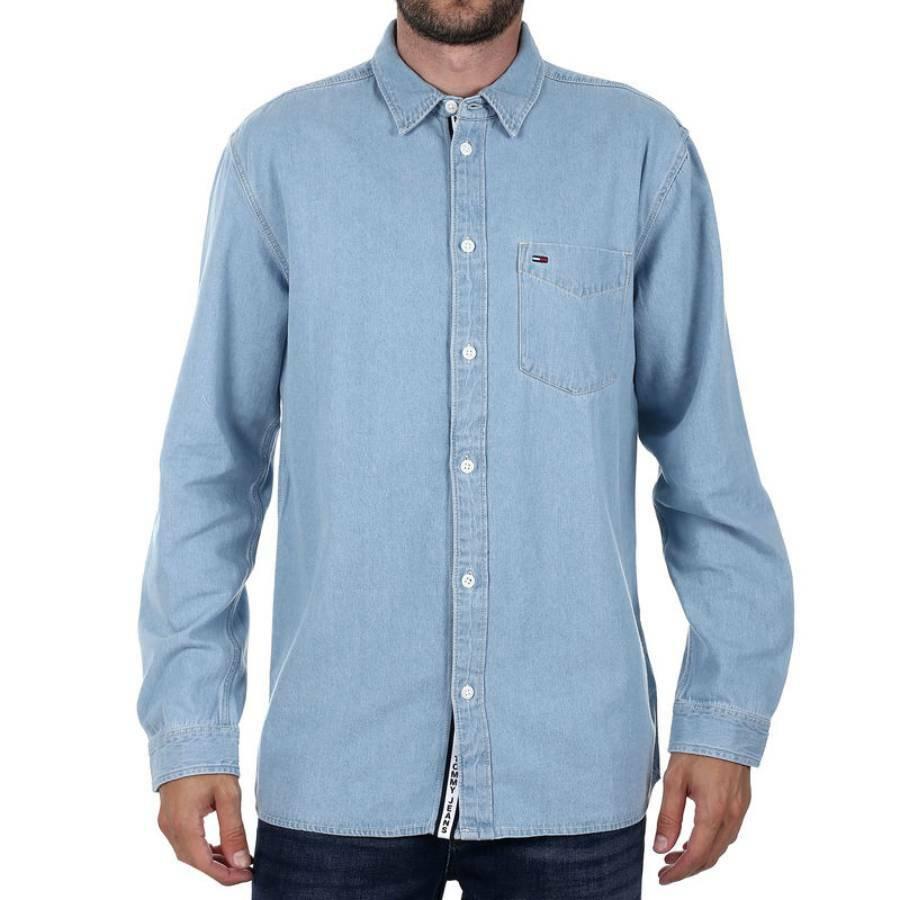 Tommy Hilfiger pánská světle modrá džínová košile Denim - L (405)