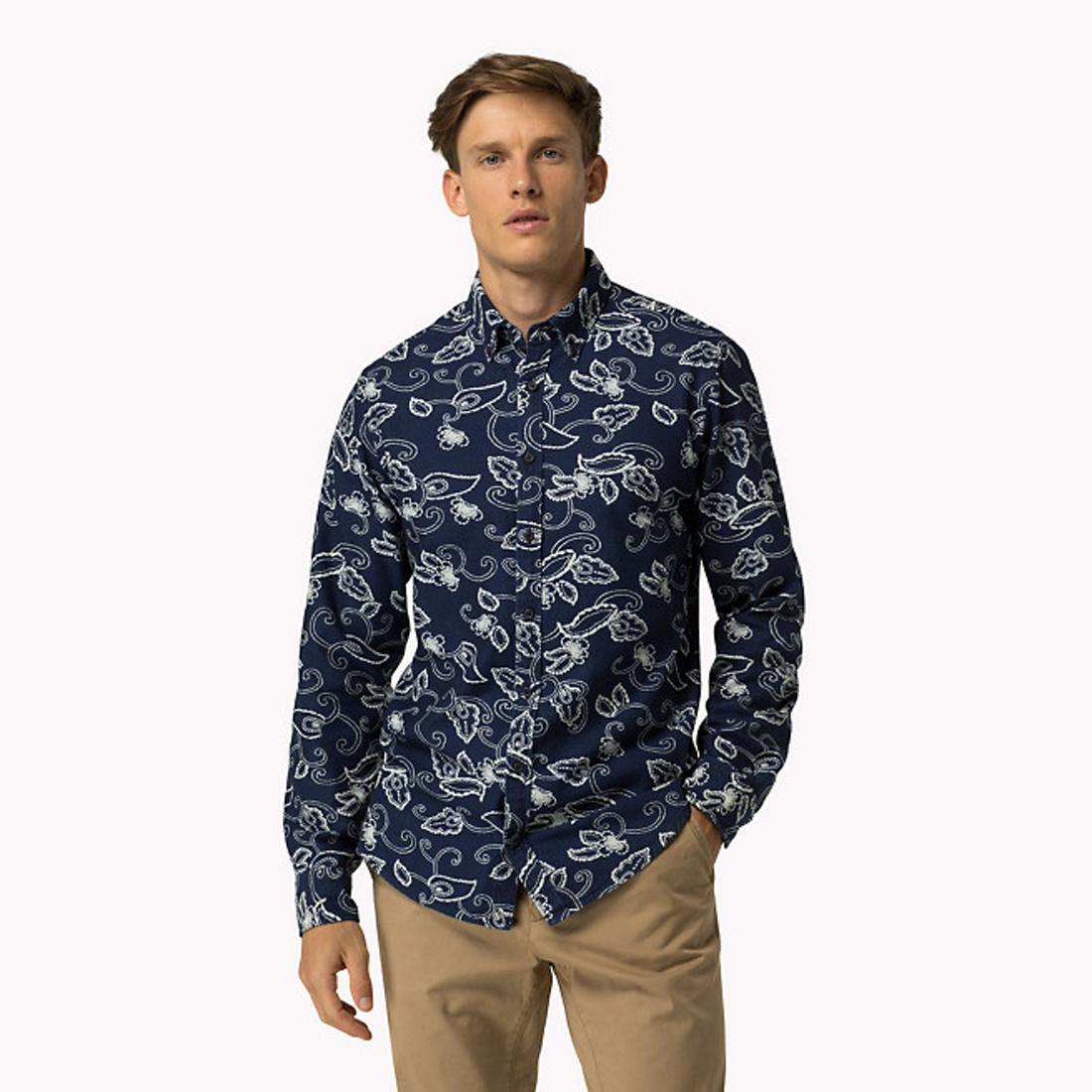 72071098459 Tommy Hilfiger pánská tmavě modrá košile Indigo Floral - Mode.cz