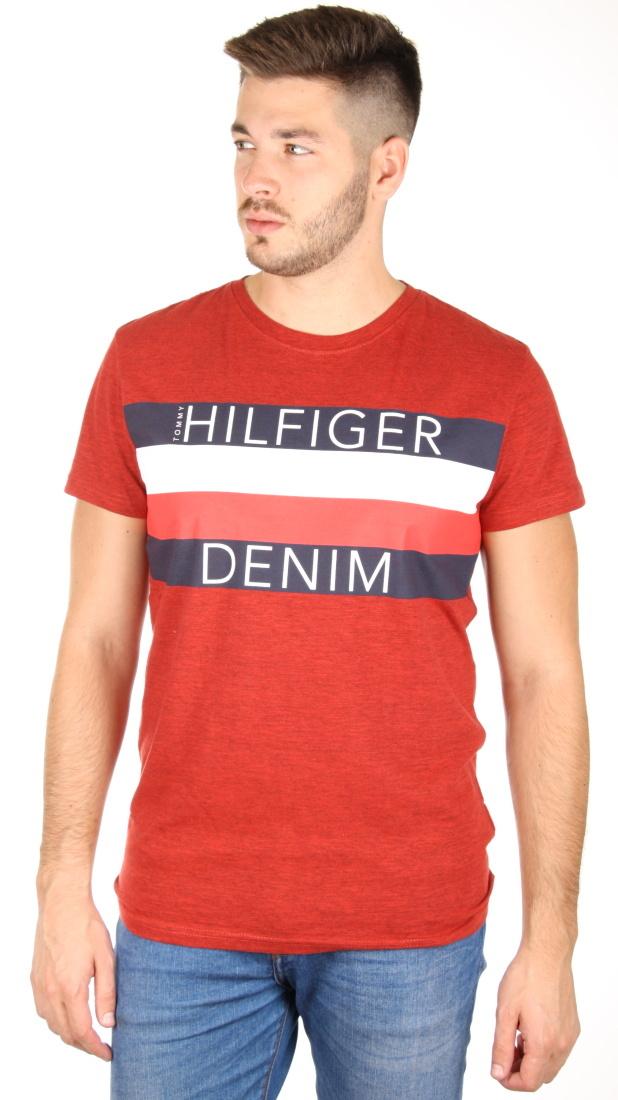 a81c7e7dad Tommy Hilfiger pánské červené tričko Basic - Mode.cz