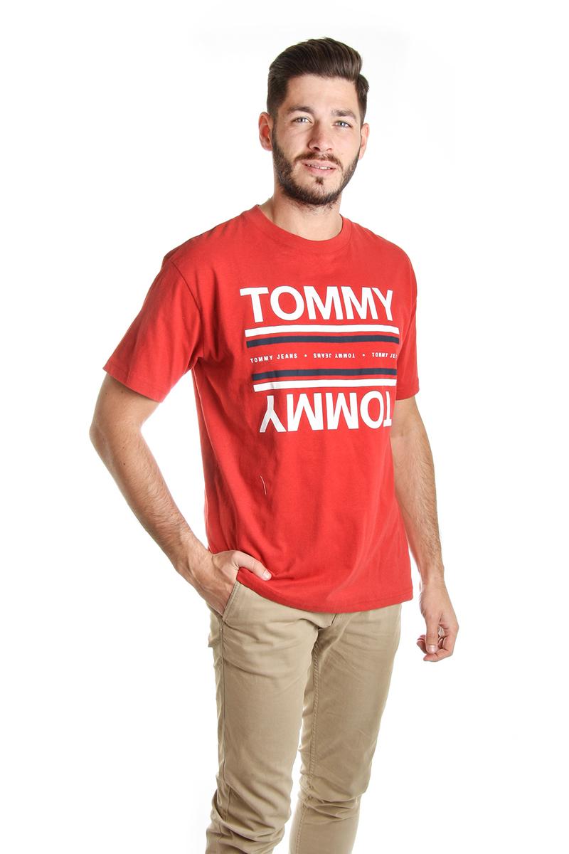 Levně Tommy Hilfiger pánské červené tričko Reflection