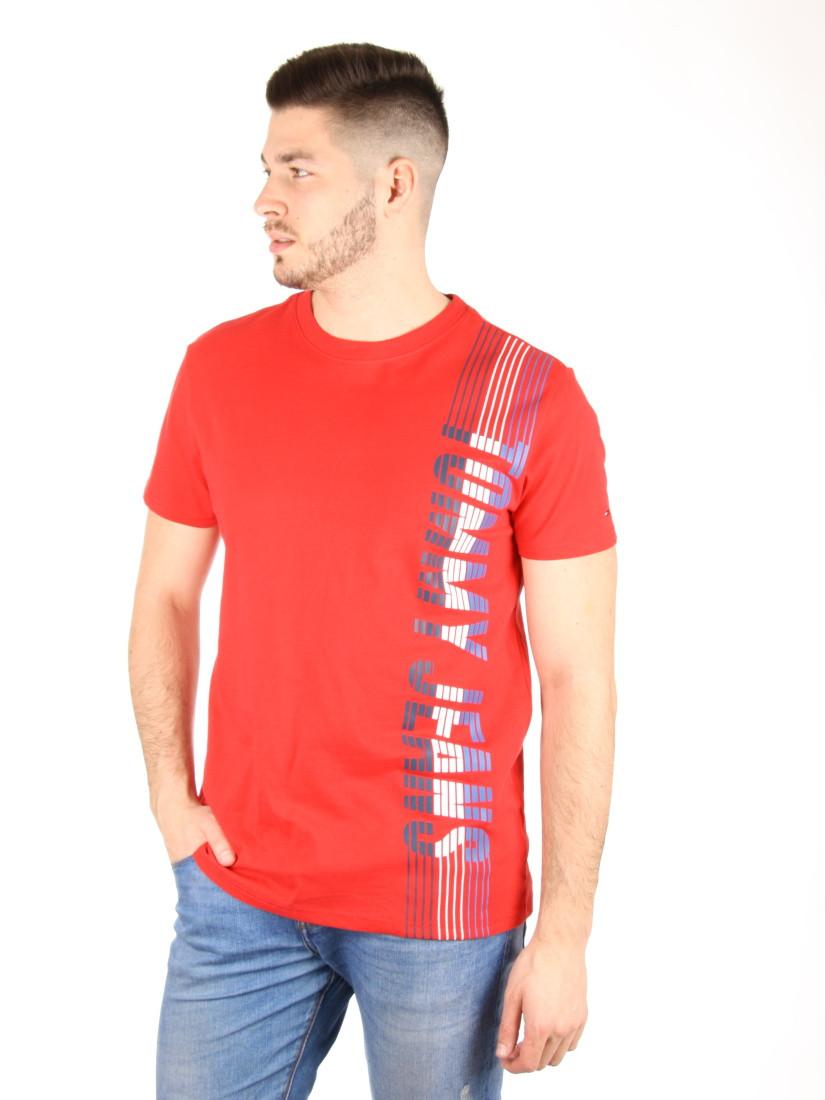 9bd43e9159 Tommy Hilfiger pánské červené tričko Vertical - Mode.cz