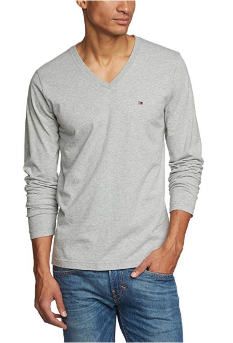 bec3633899a7 Tommy Hilfiger pánské šedé tričko s výstřihem do V - XXL (501CLOU)