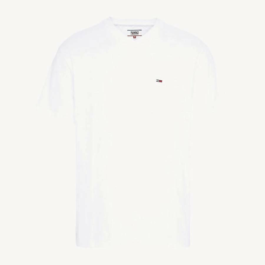 796acd1f62e0 Tommy Hilfiger pánské bílé tričko s výstřihem do V - Mode.cz