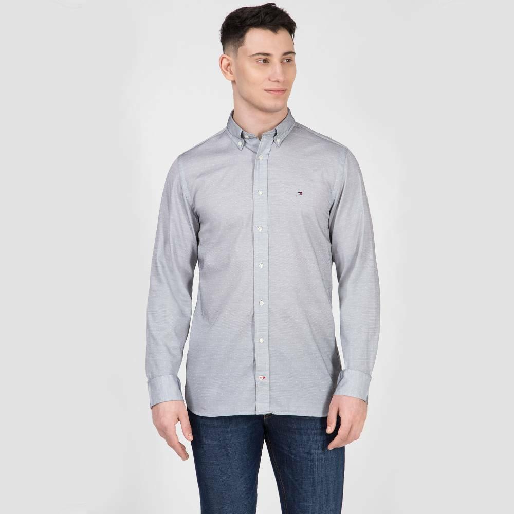 Levně Tommy Hilfiger pánská světle modrá jemně vzorovaná košile
